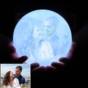 Image 3 - Lámpara de luna para fotos personalizadas, foco para proyectar fotografías, luz nocturna con cargador USB, control de batería, 2/3 colores, regalo para niños, mujer, pareja