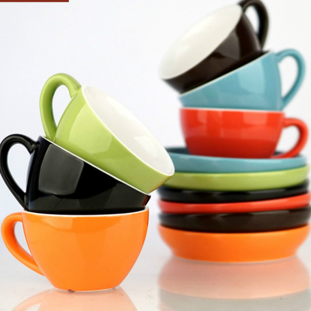 Wide Mouth Ceramic Cappuccino Coffee Mug Cup With Saucer Sets Simplicity European Thick Colored Espresso Cups    WJB41807
