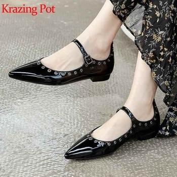 Krazing pot superstar full grain leather pointed toe low heels metal buckle fashion women rivets beading decoration pumps L99