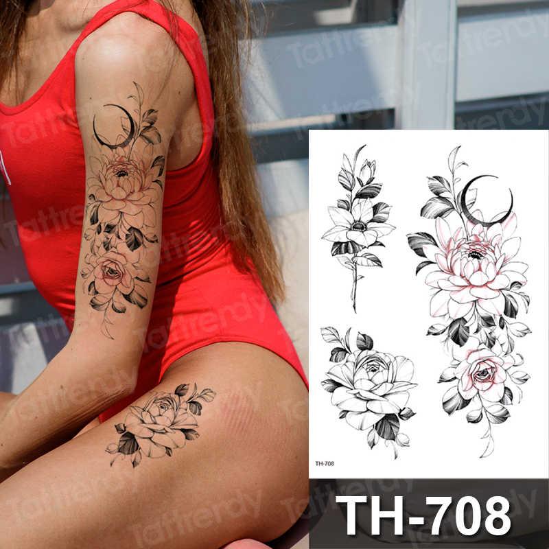 스케치 문신 디자인 팔 슬리브 임시 호랑이 문신 섹시한 스케치 독특한 꽃 문신 검은 유방 발목 문신 가짜 여자