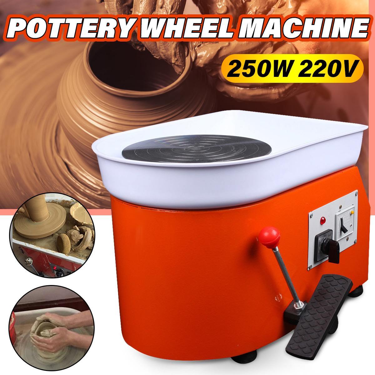 250W 220V Electric Pottery Wheel Ceramic Machine Tools Foot Pedal Ceramic Clay Kit Art Mold DIY Turning Ceramic Forming Machine