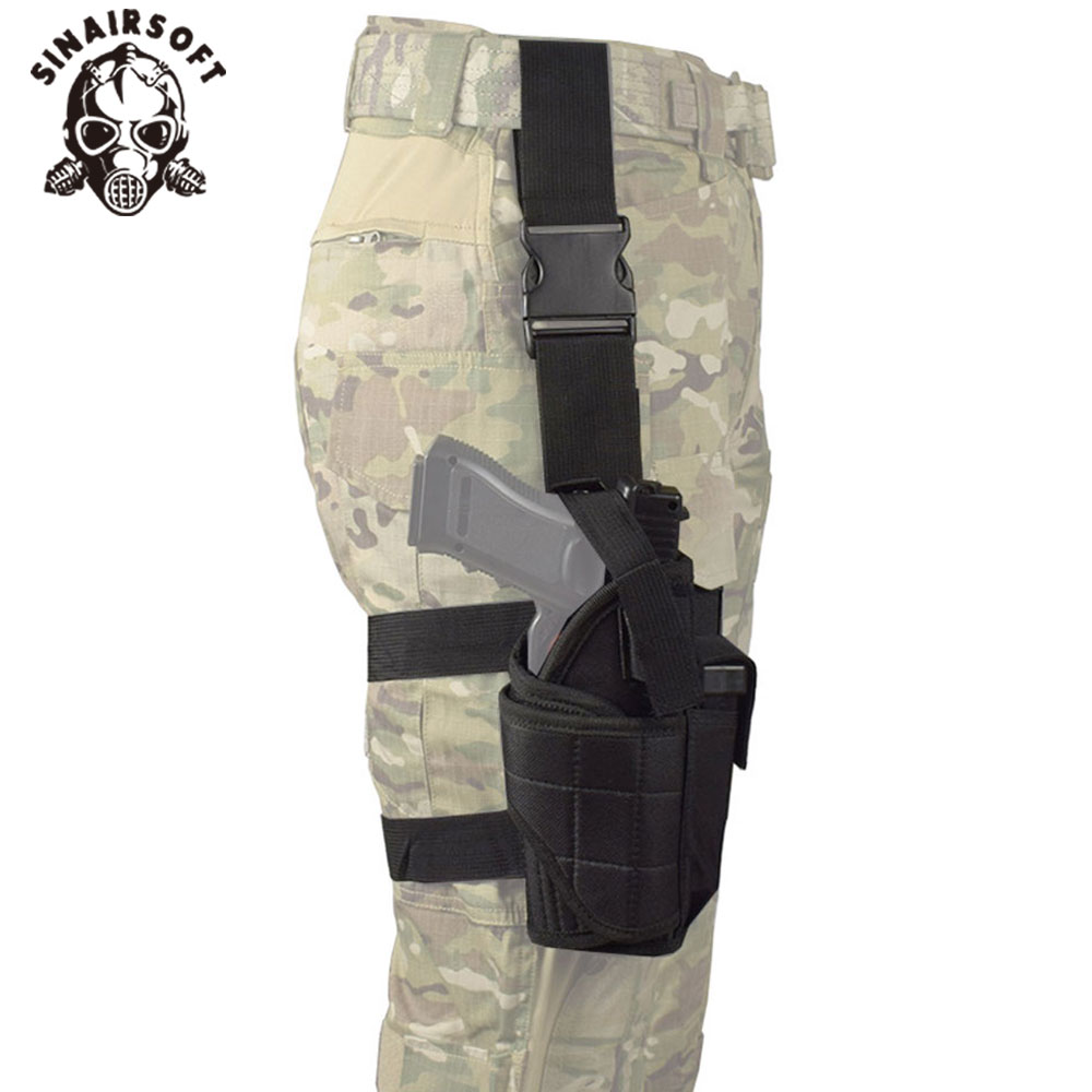 Tactical Vertical Belt Drop Leg Puttee Thigh Leg Pistol Gun Holster Molle With Magazine Pouch Fit Most Handgun