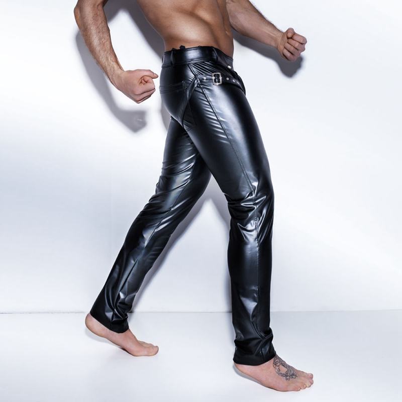 Men Faux Latex Leather Pants Stretch Wet Look Shiny Trousers Stage Clubwear Cool