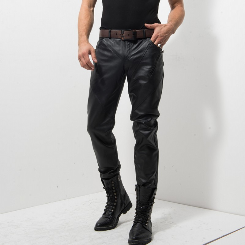 Italian Brand Men Genuine Leather Rock Stage Show Skinny Pants Motor Biker Pantalon Homme Zipper Fashion New Slim Male Trousers