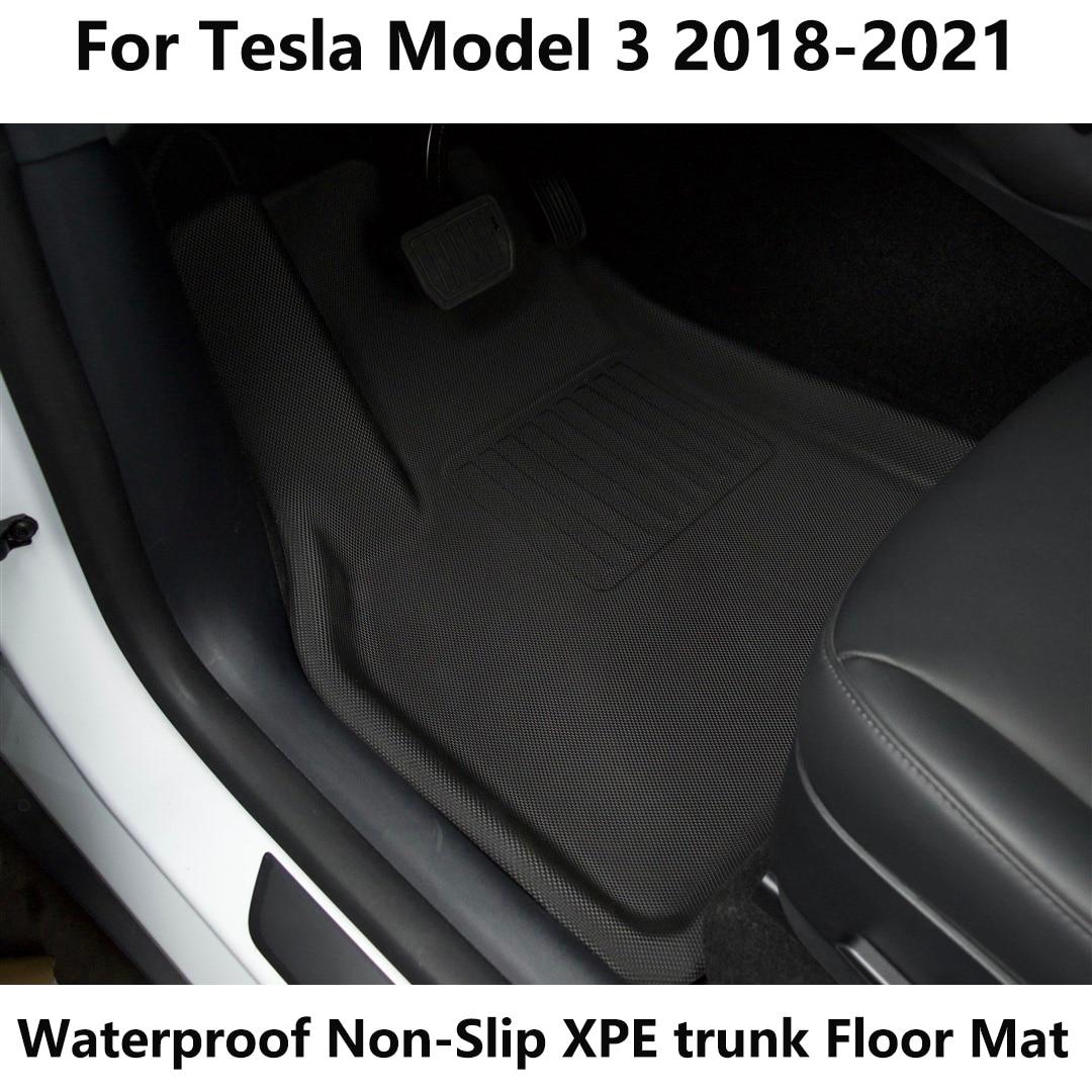 Almohadilla de pie especial de recubrimiento completo para Tesla Model 3, esteras para maletero TPE XPE, impermeables, antideslizantes, accesorios, esteras para maletero, 2013-2021