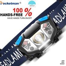 5000 lm Mini ultra jasny lampa czołowa led Motion Sensor USB latarka czołowa z akumulatorem reflektor do biegania, biwakowania, wędrówek i innych