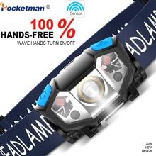 5000LM مصباح LED فائق الإشراق صغير كشافات محس حركة USB قابلة للشحن رئيس مصباح المصباح لتشغيل والتخييم والمشي لمسافات طويلة وأكثر من ذلك