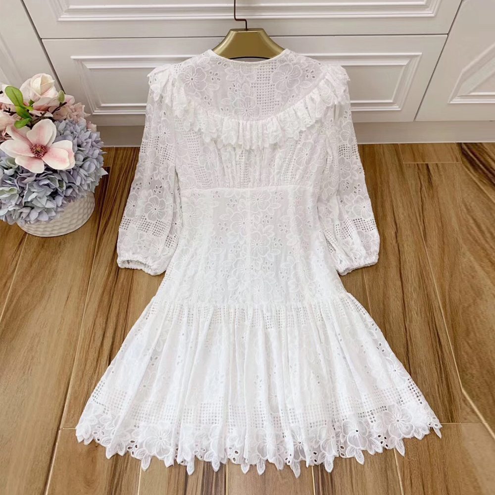 Baogarret Bandage Floral Embroidery White Cotton Dress Sexy V Neck Ruffle Wrist Sleeve Dresses Women Runway Autumn Vestidos in Dresses from Women 39 s Clothing