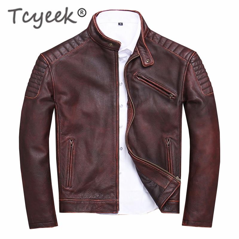 Tcyeek 100% Genuine Leather Jacket For Men Fashion Cow Leather Coat 2019 Streetwear Men's Moto & Biker Coats Slim Casaco U-1806