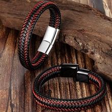Модный мужской браслет плетеный кожаный канат из нержавеющей стали с магнитной застежкой мужской браслет в стиле панк браслет на запястье Pulsera Hombre