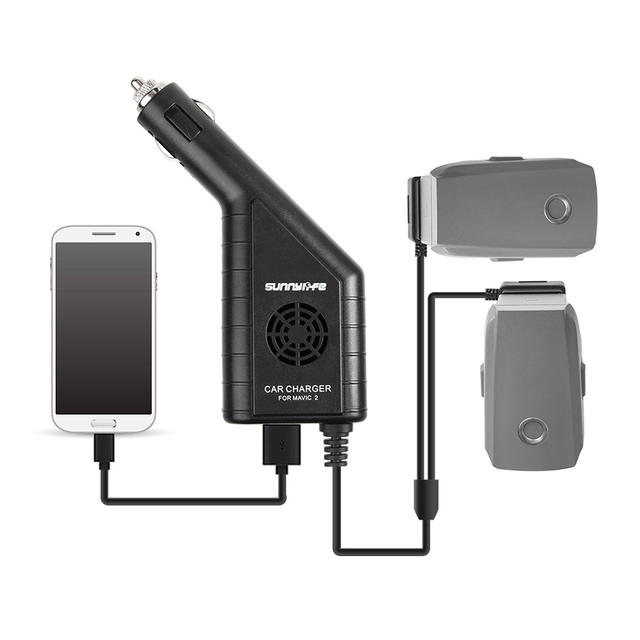 Mavic 2 carregador de carro duplo carregador de bateria com usb carregador de carro carregador remoto para dji mavic 2 pro zoom zangão bateria charg