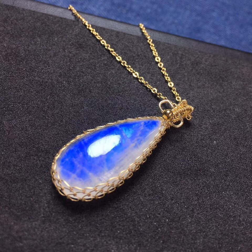 Certificate Natural Moonstone Blue Light Women Men Necklace Pendant Birthday Gift 30x14x7mm 925 Silver Crystal Pendant AAAAA