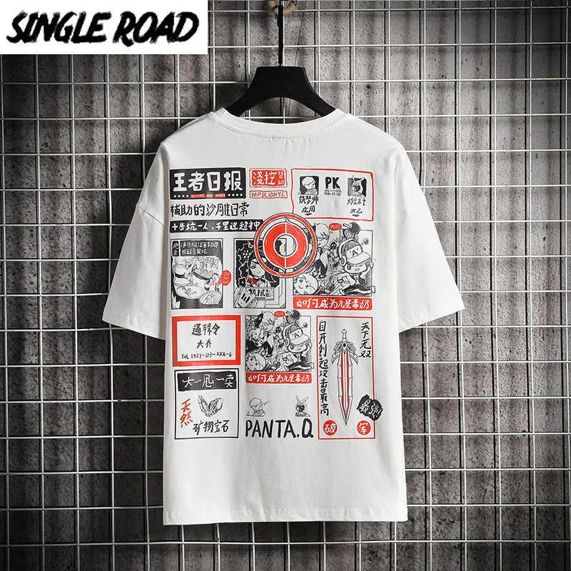 SingleRoad Uomo T-Shirt da Uomo 2020 Estate Magliette E Camicette di Grandi Dimensioni Anime Stampato Hip Hop Giapponese Streetwear Harajuku Tshirt T Degli Uomini Della Camicia