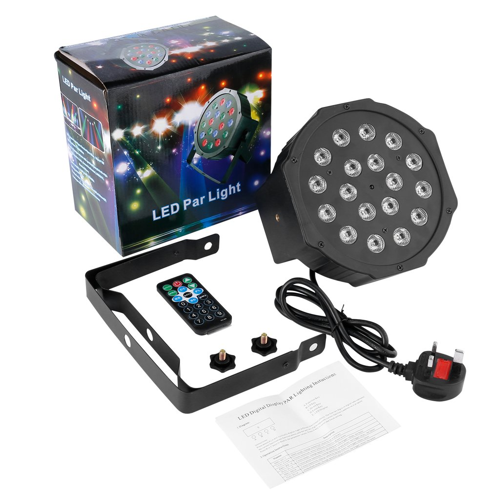 18LED Par Lights For Stage Light With RGB Magic Effect By Remote Control Red Green Blue Light For Pub Club Dance Lights
