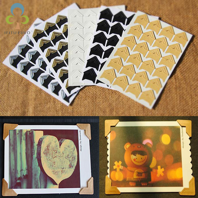 Hot New 144 pcs/lot (6 sheets) DIY Vintage Corner kraft Paper Stickers for Photo Albums Frame Decoration Scrapbooking ZXH