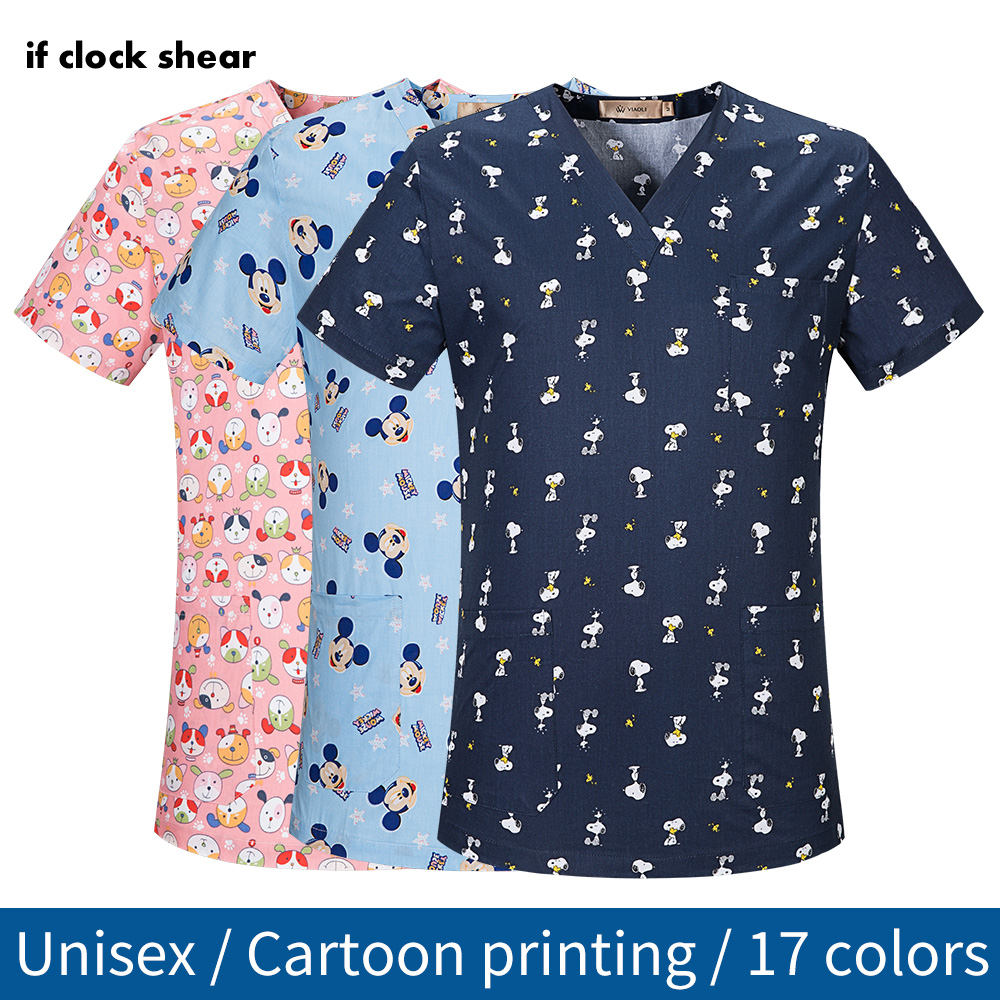 Medical Surgical Uniform Pharmacy Hospital Nurse Scrub Tops Breathable Beauty Salon Work Shirts Pet Doctor Overalls Spa Uniform