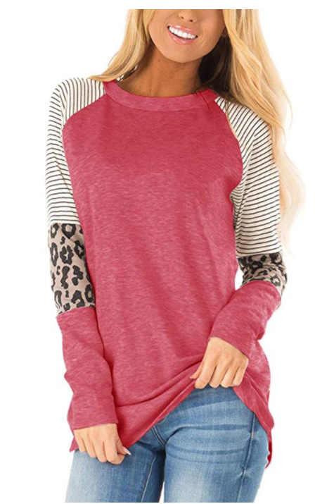 Feminino listrado leopardo remendo beisebol manga longa camiseta femme plus size camisa superior coreano casual roupas básicas na moda outono