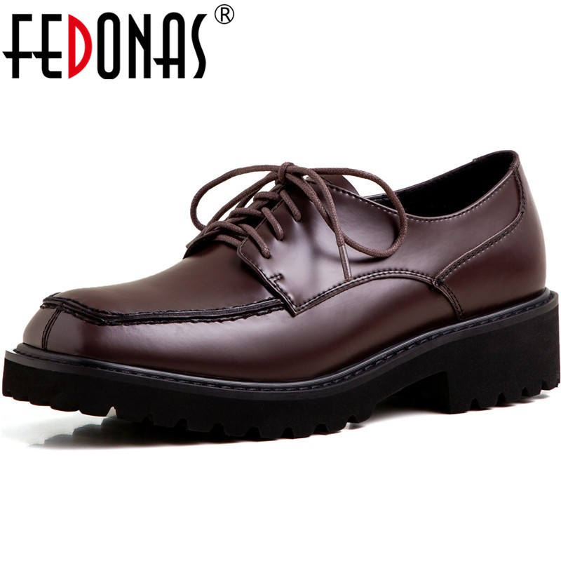FEDONAS New Women  Night Club Pumps Spring Summer Square Heels Punk Cross-Tied Shoes Patent Leather Classic Shoes Woman