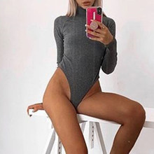 Knitted Ribbed Bodysuits Autumn Winter Women Rompers Long Sleeve Holes Skinny Body Mujer Top Solid Sexy Club Bodysuit New LX198(China)