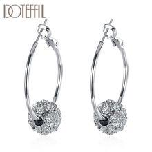 DOTEFFIL 925 ayar gümüş/gül altın AAA zirkon yuvarlak boncuk tılsım küpe kadınlar için takı moda düğün parti hediye