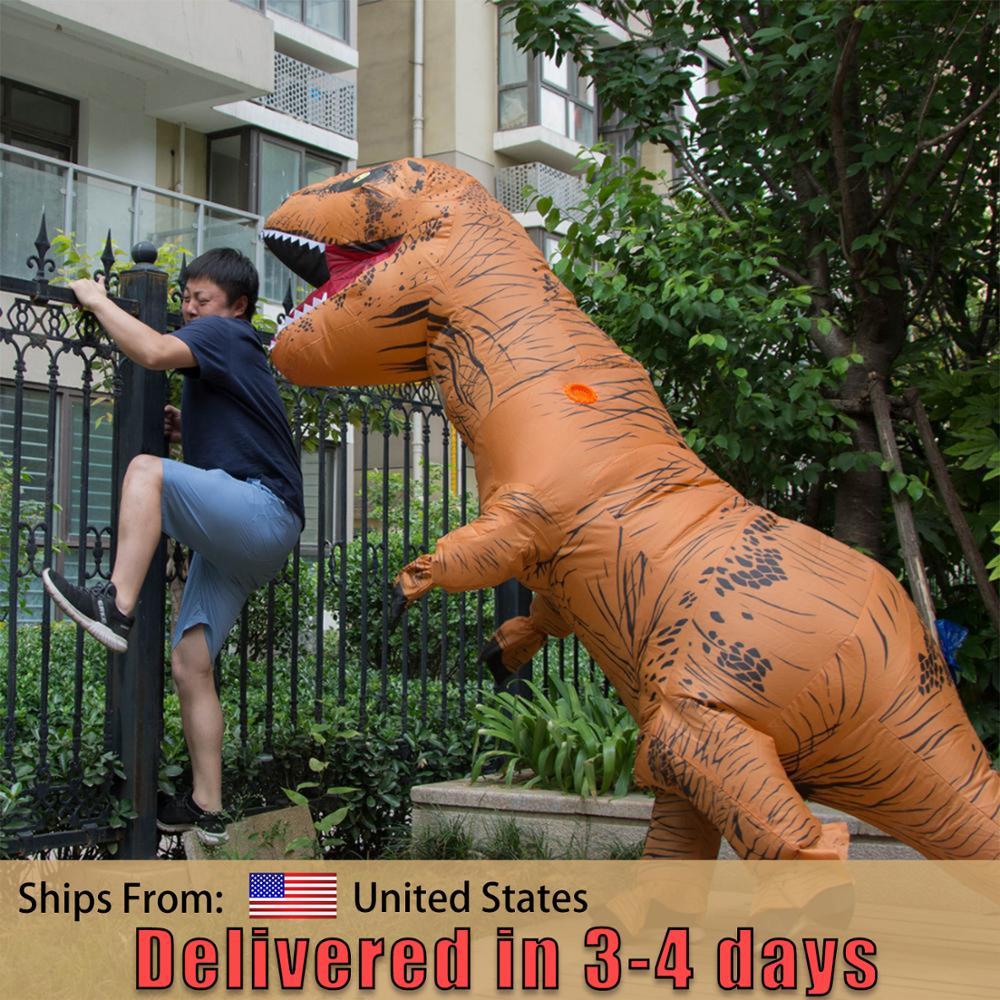 T-Rex Trex Dinosaur Inflatable Blow Up Costume For Children Adult  Women Men Halloween Cosplay Jumpsuit Movie Funny Fancy Dress