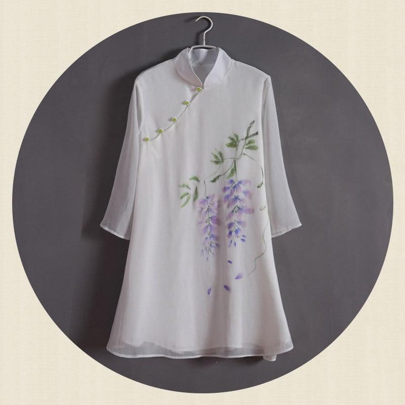 Wonderful Lotus Origional Chinese Clothing Vintage Tops Hand-Painted Lotus Jade Buckle Chiffon Cotton Linen Charen Service Medit