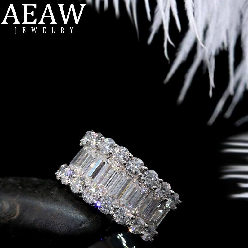AEAW luxe solide 14K or Moissanite diamant alliance ronde taille Baguette diamants demi éternité anniversaire bague