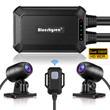 Blueskysea B1M MINI WiFi motocicleta Dash Cam Dual HD 1080P sin pantalla de conducción segura 135 gran angular IP67 impermeable Dash Cámara
