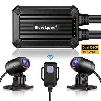 Blueskysea B1M Mini WiFi Moto rcycle Dash Cam podwójna kamera HD 1080P DVR bez ekranu 135 ° szeroki kąt IP67 wodoodporny GPS Cámara moto