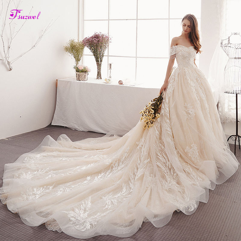 Fsuzwel Charming Boat Neck Beaded Lace A-Line Wedding Dresses 2019 Gorgeous Appliques Chapel Train Bridal Gown Vestido De Noiva