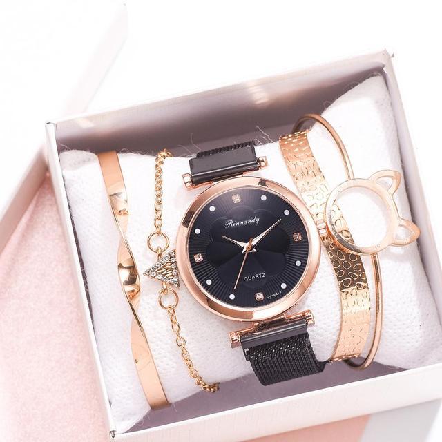 Conjunto de 5 uds. De relojes de lujo con hebilla magnética para Mujer, pulsera de cuarzo con diamantes de imitación y flores 2