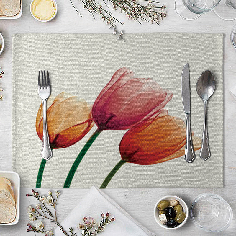Printed fabric Western food mat  table decoration and accessories, tableware pad Table coaster  40*30cm