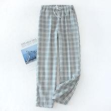 Мужские хлопок марля сна низ плед трикотаж пижама брюки свободные одежда для сна гостиная одежда брюки мужские резинка лента пижама шорты