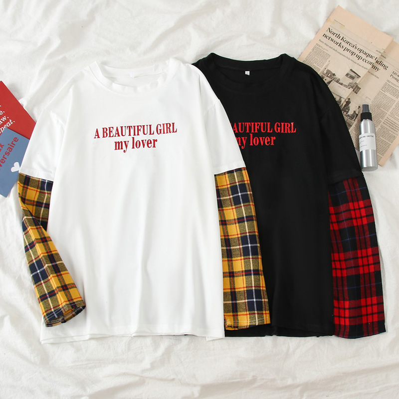 Harajuku Kawaii Women Tshirt Loose Casual Long Sleeve Plaid Patchwork T Shirt Autumn Students Simple Letter White Black T-shirts