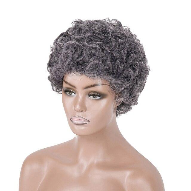 白髪かつらブラック女性ショートカーリーかつら高齢者のための女性の高温ファイバー人工毛 6 インチ