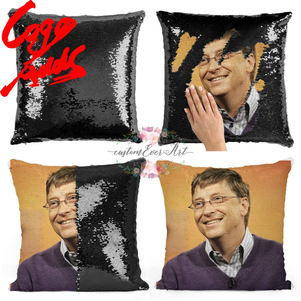 Bill Gates Sequin Pillow | Sequin Pillowcase | Two Color Pillow | Gift For Her | Gift For Him | Pillow | Magic Pillow