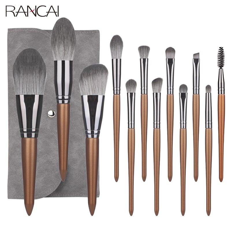 RANCAI 12pcs Professional Makeup Brush Set Big Loose Powder Foundation Eyeshadow Eyeliner Eyebrows Eyelashes Contour Highlight