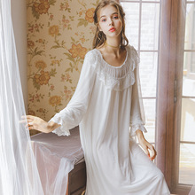 2019 New Summer And Autumn Lotus Cloud Pleated Skirt Only Beauty God Long Nightdress Home Service Ladies Sleepwear GZ28