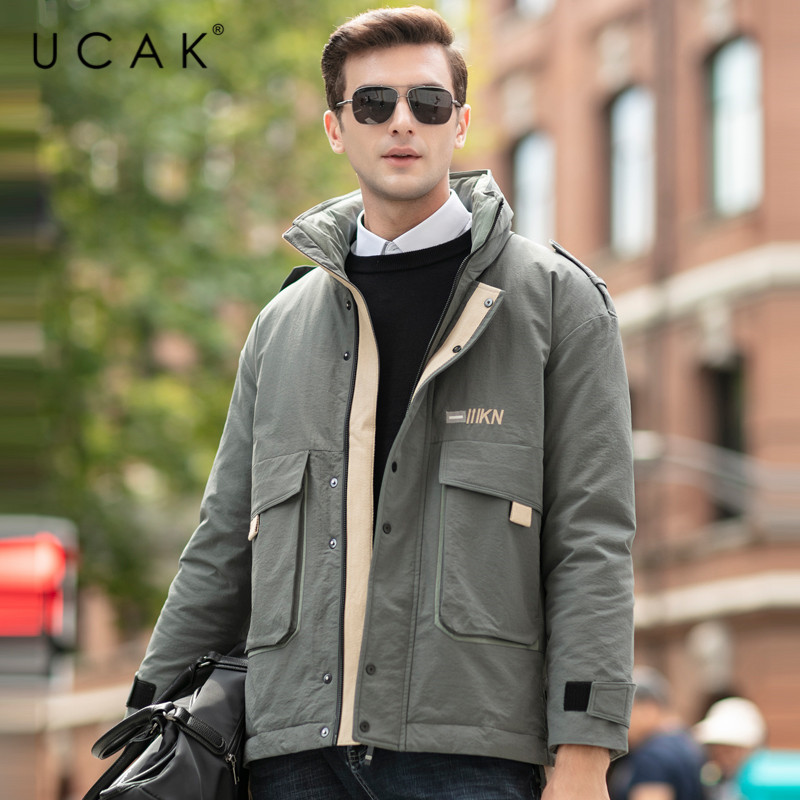 UCAK Brand Grey Goose Down Jackets Men New Fashion Style Solid Casual Coat 2019 Winter Homme Men Pockets Warm Thick Jacket U8023