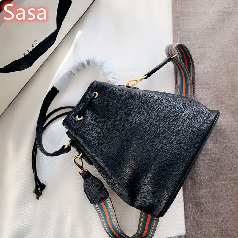Sasa Letaher Bucket Bag For Lady Black Handbags Retro Luxury Brand Bags
