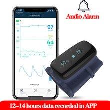 Saturação de oxigênio no sangue do oxímetro do pulso da ponta do dedo do bluetooth usb alarme audível 10 horas de registro de dados do sono oled