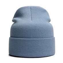 Однотонная шапка унисекс осенне зимняя Шерстяная Смесь мягкая