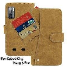 """Carteira de couro do vintage cubot king kong 5 pro caso 6.09 """"flip slots de cartão de luxo capa ímã telefone casos protetores sacos"""