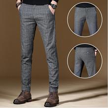 2020 mode qualité coton lin hommes printemps pantalons décontractés hommes grille élastique pantalon droit mâle classique affaires pantalon