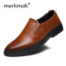 Merkmak 2020 Handmade Genuine Leather Men Shoes Sping Autumn Business Fashion Slip On Men Casual Shoes Brand Shoes Men Big Size tanie tanio Prawdziwej skóry Skóra bydlęca RUBBER Slip-on Pasuje prawda na wymiar weź swój normalny rozmiar Podstawowe Stałe