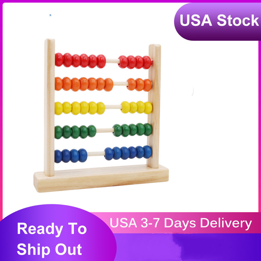 Child Wooden Abacus Toys Calculat Bead Counting Intelligence Development Early Math Educational Learning Toy Color Random(China)
