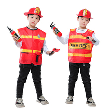 Halloween Cosplay Boys Kid Clothes Firemen Uniform Matching Helmet Toy Set Of 4 4T-11T Carnival Role Play Girl Prom Gown Costume