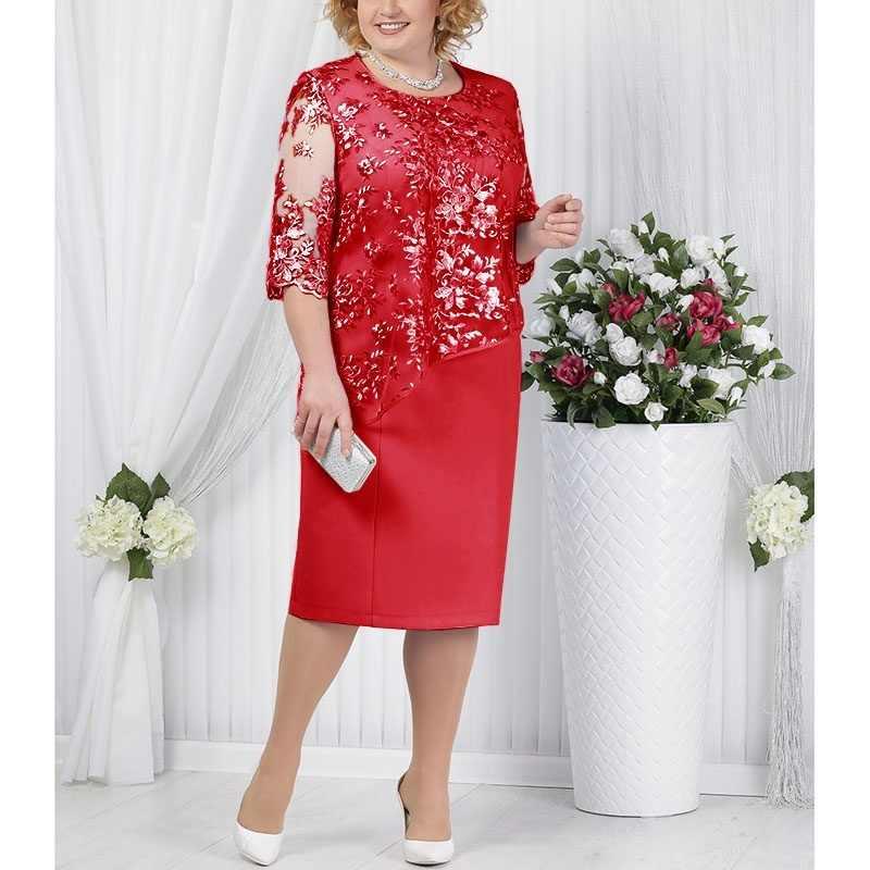 فستان سهرة أنيق نصف كم بالإضافة إلى حجم س الرقبة قصيرة فساتين أم العروس الزفاف الأحمر رداء حفلات الضيوف
