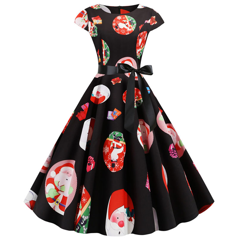Women Christmas Party Dress robe femme Plus Size Elegant Vintage Short Sleeve Xmas Summer Dress Black Casual Midi Jurken Vestido 834
