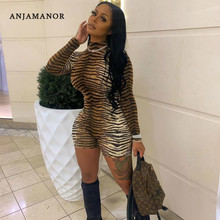 ANJAMANOR Cheetah Print Sexy Rompers Playsuit Fall Clothes for Women Clubwear High Neck Long Sleeve